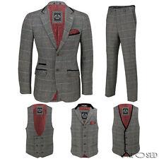 Para hombre Traje de 3 piezas de verificación Gris Herringbone vende por separado Chaqueta pantalones chaleco