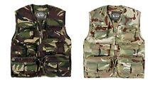 Kids Children's Army Woodland Camouflage Multi Pocket Vest Camo 11 Pockets