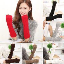 Fashion Women Girls Arm Warmer Wool Long Fingerless Knit Mitten Winter Gloves