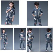Kids jeans unisexe set 2pc veste + pantalon sport costume combinaison taille 3-16 ans deluxe