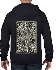 Skeleton Playing Card Full Zip Hoodie - Goth Emo Tattoo Skull