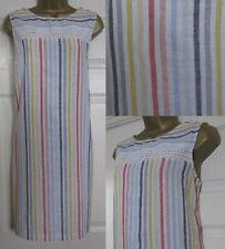 NEW Next Shift Tunic Dress Linen Blend Sleeveless Summer Pink Blue Striped 6-22