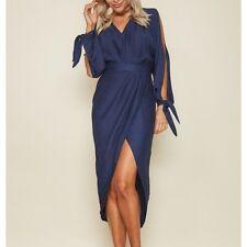 Elegante vestito abito lungo blu manica lunga spacco spacco scollo slim 3866 f18fcc24d628