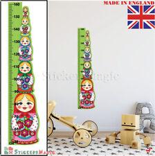 Muñeca Rusa Altura Crecimiento Tabla Pegatinas De Pared Dormitorio de Niños Decoración Arte DEC UK