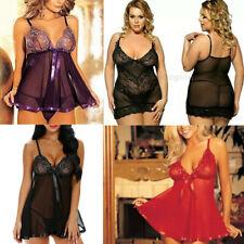 Sexy lace lingerie floral nightwear sleepwear underwear thong UK plus size 8-32