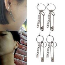 1Pair Safety Pin Shape Geometry Long Chain Tassel BTS Irregular Earring New