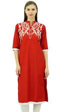 Bimba Women's Red Linen Kurta Embroidered Kurti Mandarin Collar Chic Straight