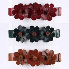Vtg MARUNI c.1940s Red Teal Tan Leather Flower Embellished Waist Belt Sz 28 RARE