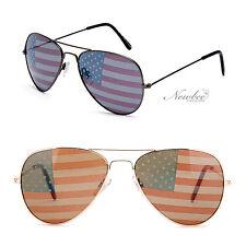 Aviators Sunglasses with Printed American Flag Lens America USA Event