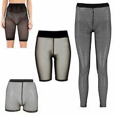 Womens Slim Fit Full Fishnet Mesh See Through Leggings Cycling Shorts Hot Pants