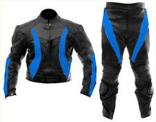 Uomo Nero & Blu Da corsa Motociclet Pelle Suit Biker Giacca & Pantaloni IT