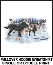 AWESOME WOLVES IN WOLF PACK IN SNOW WOODS SCENE WEREWOLF HOODIE SWEATSHIRT WS1