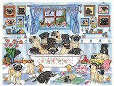 33 Pugs   Bath Watercolour/ink Painting  by Bridgette Lee pug dog