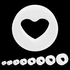 piercing tunnel plug en silicone fléxible Forme coeur intérieur creux