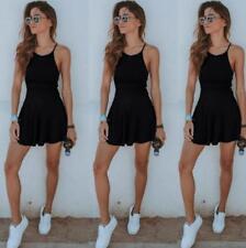 Summer Women Spaghetti Strap Dress Casual Sports Tennis Short Mini Dress JJ