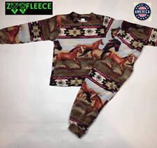 ZooFleece Red Aztec Horses Kids Pajama PJ Sweatsuit Nightgown PJs
