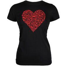 Halloween Skull Heart Black Juniors Soft T-Shirt
