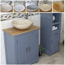 Grey Small Bathroom Cabinet | Solid Oak Bathroom Furniture | Stone Basin Choice
