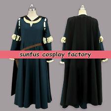 Halloween Princess Merida Brave Dress Movie Cloak Cape Cosplay Costume Medieval