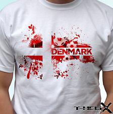 Dinamarca Bandera Fútbol-Blanco T Shirt Top país Diseño Hombre Mujer Niños Y Bebés