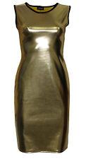 metallisch glänzend PVC gelbgolden Gold Fett Wetlook Bodycon