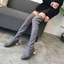 stivali coscia ginocchio donna grigio tacco 5 cm eleganti simil pelle 9658