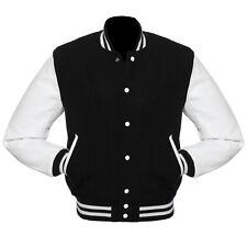Black Wool Varsity Letterman College Bomber Jacket White Real Leather Sleeves