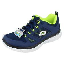 Boys Skechers blue coated leather / textile lace up Trainer Flex Advantage