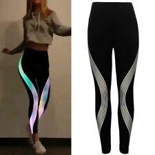 Funny Women Neon Rainbow Leggings Fitness Sports Gym Running Yoga Athletic Pants