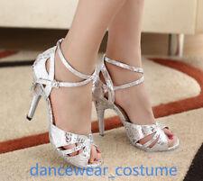 Ladies Women Samba Latin Tango Ballroom Salsa Dance Shoes Heels Sandals EU34-42