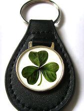 IRELAND IRISH CLOVER LEAF SHAMROCK KEYRING KEYFOB