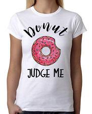 New Juniors Donut Judge Me Pink Sprinkles White T-Shirt Funny Sweet Bakery B496