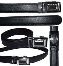 Lot of 2 Men's Belt Black Leather Automatic lock belt Up to 38 inches Dress belt