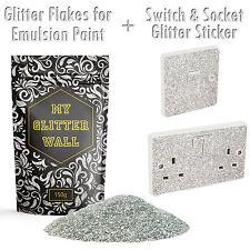 Cristal Brillo Pintura para emulsión Silver Glitter Papel Tapiz De Pared + Zócalo 150G