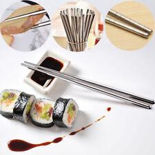 10 Pairs Reusable Metal Long Chopsticks Korean Chinese Stainless Steel Chopstick