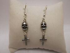 Skull & Cross Drop Earrings - 925 Sterling Silver Wires - Clip On