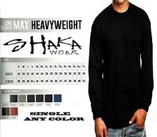 Shaka Wear Mens Max Heavyweight Long Sleeve T-shirt Any Color Basic Plain Tee