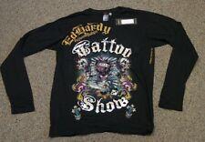 ED Hardy Men's Tattoo Show Love Kills Rainbow Foil Long Sleeve T-Shirt Black