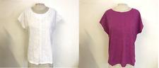 WHITE Stuff Cotone Floreale Ricamato in Pizzo T-shirt girocollo in viola e bianco (P41)
