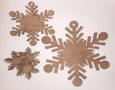 Fiocco di neve decorativi in legno forme Craft 3mm Albero Natalizio in compensato tagliati al laser