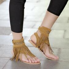 Boho Womens Tassel Flats Open Toe Sandals Shoes Rhinestones Ankle Strap JA