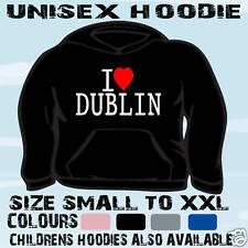 I LOVE HEART DUBLIN IRELAND UNISEX HOODIE HOODED TOP