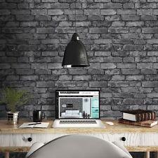 Fine Decor Panel de ladrillo rústico wallpaper efecto Carbón Negro/Plata FD31284
