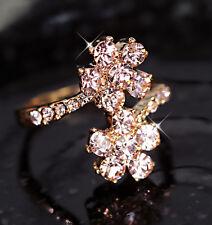 18K ROSE GOLD GF PINK FLOWER CITRINE CLUSTER LADY GIRLS DRESS CRYSTAL BAND RING