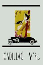 Cadillac Car Fashion Lady Antique Automobile V 6 8 Vintage Poster Repro FREE S/H