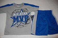 Toddler Boys Shorts Set MVP ALL STAR Gray Tee Shirt BLUE SHORTS 2T 3T 4T