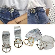 Transparent Women Ladies Vintage Metal Leather Round Buckle Waist Belt Waistband