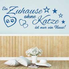 Wandtattoo Spruch - Ein Zuhause ohne Katze Haus Wandsticker Wandaufkleber