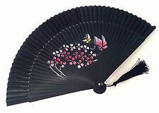 Japanese bamboo Handfan Folding Hand Fan with Heart Shape Flower and butterfly