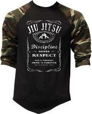 Men's Jiu Jitsu Whiskey Label Baseball Raglan T Shirt MMA fighting Gym Choke BJJ